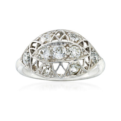 C. 1940 Vintage .75 ct. t.w. Diamond Filigree Ring in Platinum, , default