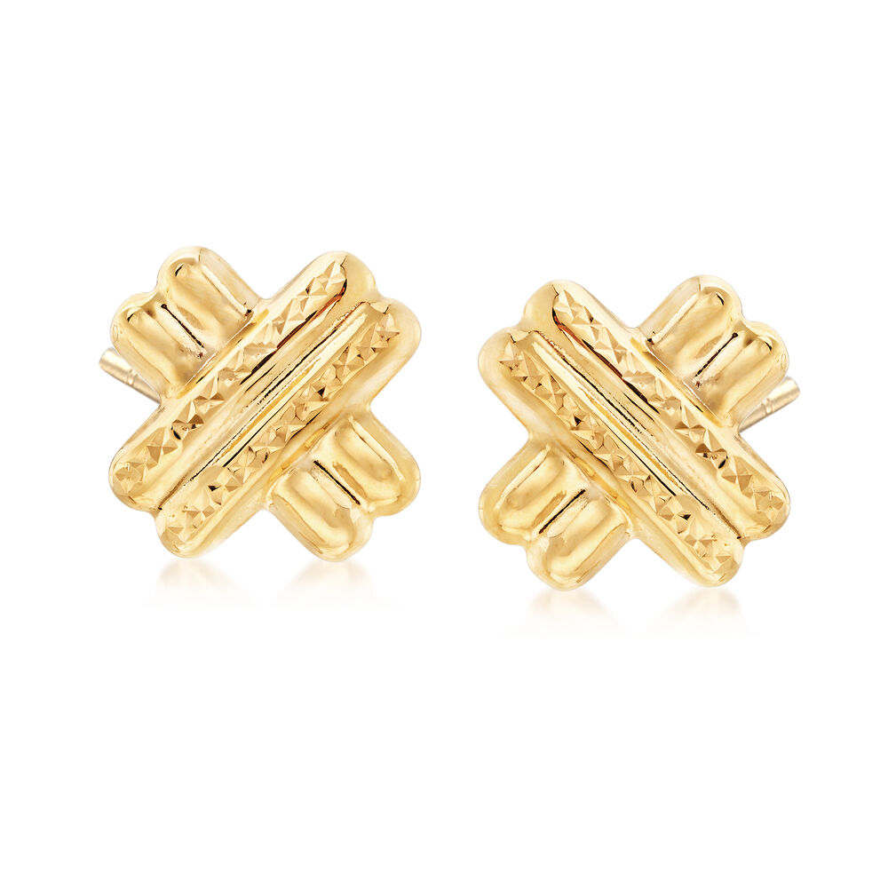 22kt Yellow Gold Diamond Cut And Polished X Stud Earrings Default