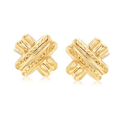 22kt Yellow Gold Diamond-Cut and Polished X Stud Earrings, , default