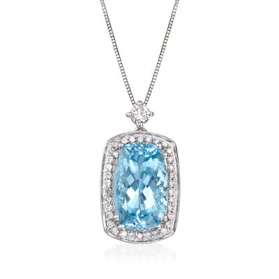 4.90 Carat Aquamarine and .32 ct. t.w. Diamond Pendant Necklace in 14kt White Gold, , default