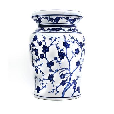 Blue Garden Handpainted Cherry Blossom Stool in Porcelain, , default