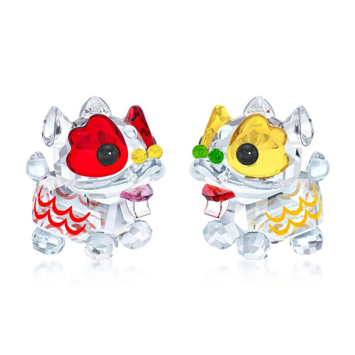 """Swarovski Crystal """"Dancing Lion"""" Red and Yellow Crystal Figurine Set: Two Chinese Lions"""