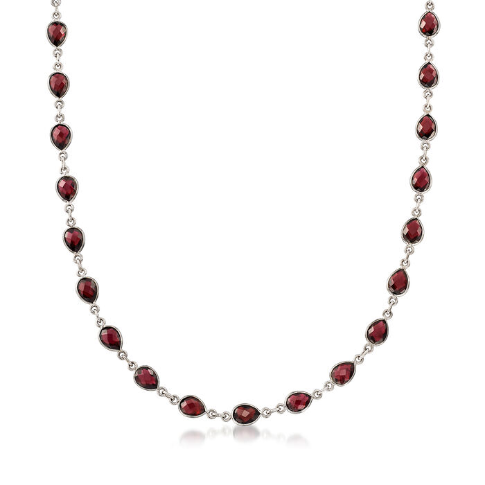 """30.00 ct. t.w. Pear-Shaped Garnet Station Necklace in Sterling Silver. 18"""""""