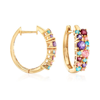 2.00 ct. t.w. Multicolored Swarovski Topaz Hoop Earrings in 18kt Gold Over Sterling, , default