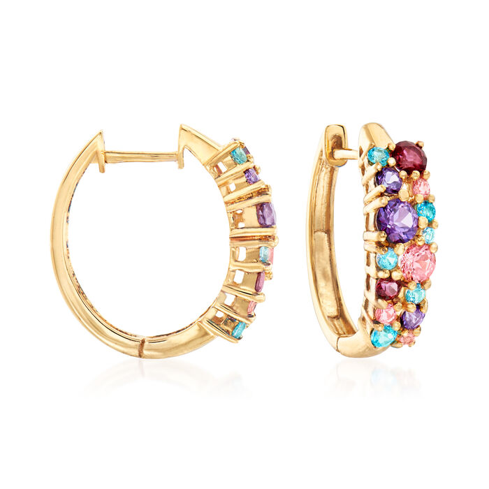 "2.00 ct. t.w. Multicolored Swarovski Topaz Hoop Earrings in 18kt Gold Over Sterling. 3/4"", , default"