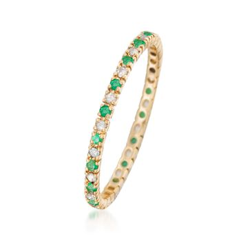 .10 ct. t.w. Emerald and .14 ct. t.w. Diamond Eternity Band Ring in 14kt Yellow Gold, , default