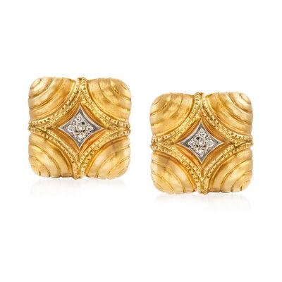 C. 1980 Vintage .20 ct. t.w. Diamond Shield Clip-On Earrings in 18kt Yellow Gold, , default