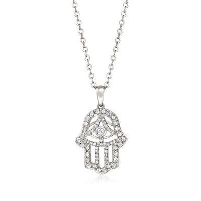 .37 ct. t.w. Diamond Hamsa Hand Pendant Necklace in Sterling Silver