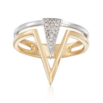 14kt Two-Tone Gold Double Triangle Ring With Pave Diamond Accents, , default