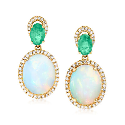 Opal, .90 ct. t.w. Emerald and .32 ct. t.w. Diamond Drop Earrings in 14kt Yellow Gold, , default