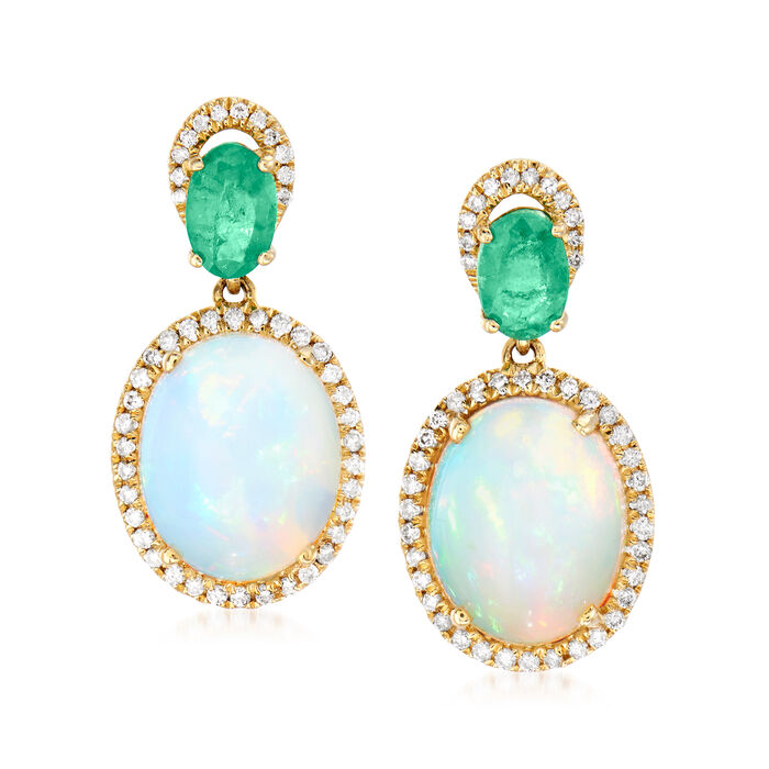 Opal, .90 ct. t.w. Emerald and .32 ct. t.w. Diamond Drop Earrings in 14kt Yellow Gold