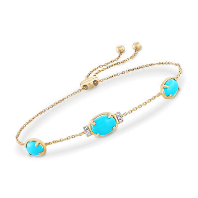 Stabilized Turquoise Bolo Bracelet with Diamond Accents in 14kt Yellow Gold, , default