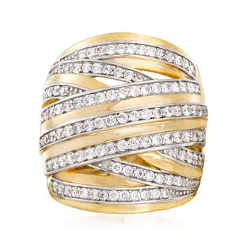 1.20 ct. t.w. CZ Highway Ring in 18kt Yellow Gold Over Sterling Silver. Size 5, , default