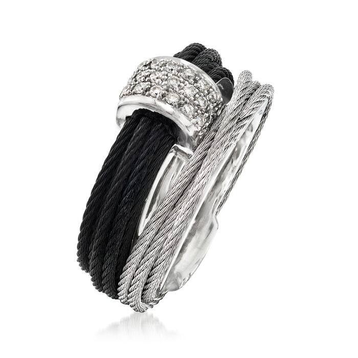 """ALOR """"Noir"""" .16 ct. t.w. Diamond Two-Tone Stainless Steel Cable Ring with 18kt White Gold"""