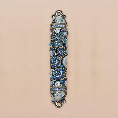 Jeweled Blue Enamel Mezuzah Case