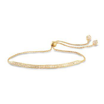 Italian 3.00 ct. t.w. CZ Mesh Bolo Bracelet in 14kt Yellow Gold, , default