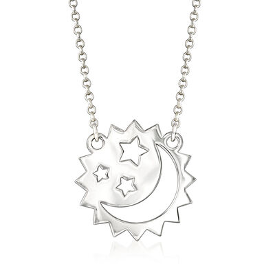 Sterling Silver Moon and Stars Necklace, , default