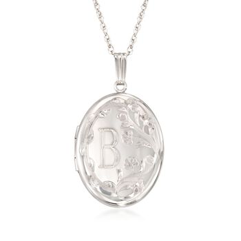 Sterling Silver Floral Single Initial Oval Locket Pendant Necklace , , default