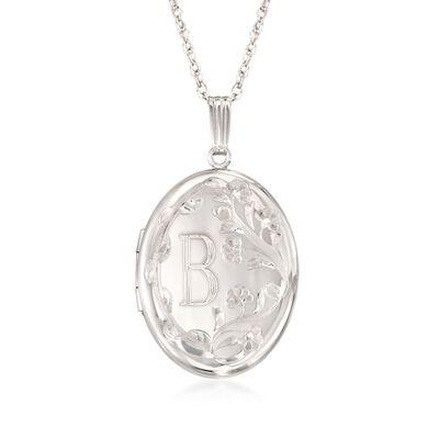 Sterling Silver Floral Single Initial Oval Locket Pendant Necklace, , default