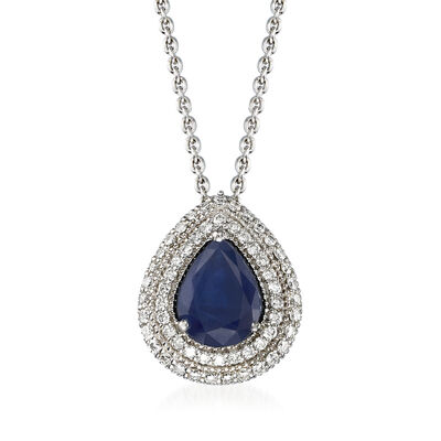 1.50 Carat Sapphire and .43 ct. t.w. Diamond Pendant Necklace in 18kt White Gold, , default