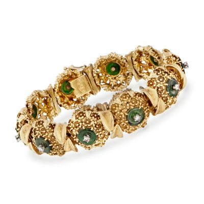 C. 1960 Vintage Green Jade and .50 ct. t.w. Diamond Floral Bracelet in 18kt Yellow Gold, , default