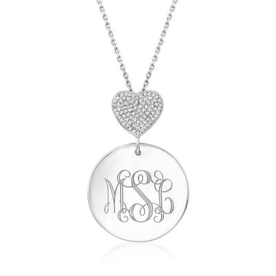 .25 ct. t.w. Diamond Heart and Personalized Disc Necklace in Sterling Silver