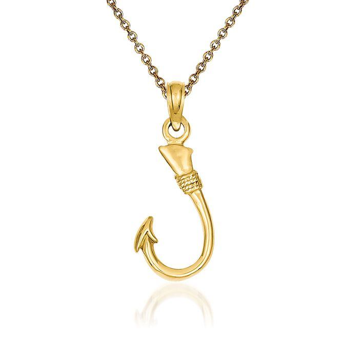 "14kt Yellow Gold Fish Hook Pendant Necklace. 18"", , default"