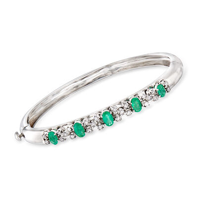 C. 1990 Vintage 1.93 ct. t.w. Emerald and .85 ct. t.w. Diamond Bangle Bracelet in 18kt White Gold, , default