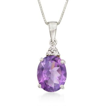 "2.40ct. Oval Amethyst Necklace in 14kt White Gold. 18"", , default"