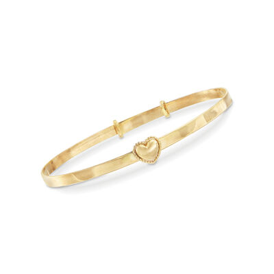 Baby's 14kt Yellow Gold Heart Bangle Bracelet, , default