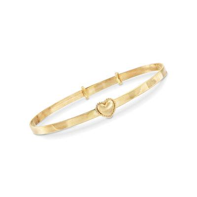 Baby's 14kt Yellow Gold Heart Bangle Bracelet, , default