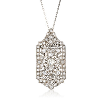 C. 1970 Vintage 2.50 ct. t.w. Diamond Filigree Pendant Necklace in Platinum, , default
