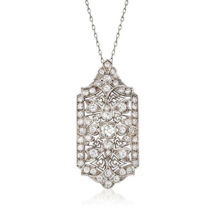 C. 1970 Vintage 2.50 ct. t.w. Diamond Filigree Pendant Necklace in Platinum
