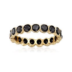 2.00 ct. t.w. Bezel-Set Black Diamond Eternity Band in 14kt Yellow Gold, , default