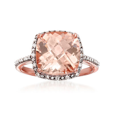 3.20 Carat Morganite and .10 ct. t.w. Diamond Ring in 14kt Rose Gold, , default