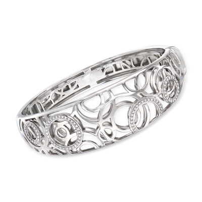 Belle Etoile Celestia .48 ct. t.w. CZ Bangle Bracelet in Sterling Silver, , default