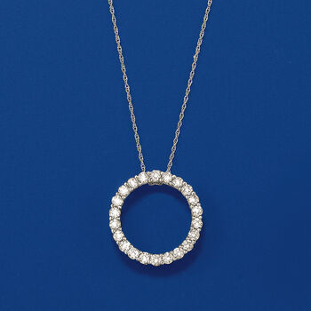"""1.00 ct. t.w. Diamond Open Circle Pendant Necklace in 14kt White Gold. 18"""", , default"""