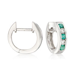 ".25 ct. t.w. Emerald and .15 ct. t.w. Diamond Hoop Earrings in 14kt White Gold. 1/2"", , default"