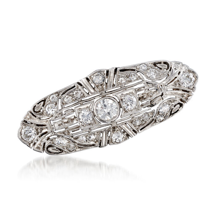 C. 1970 Vintage .90 ct. t.w. Diamond Filigree Pin in Platinum, , default