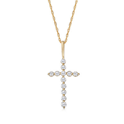 .25 ct. t.w. Diamond Cross Pendant Necklace in 14kt Yellow Gold, , default