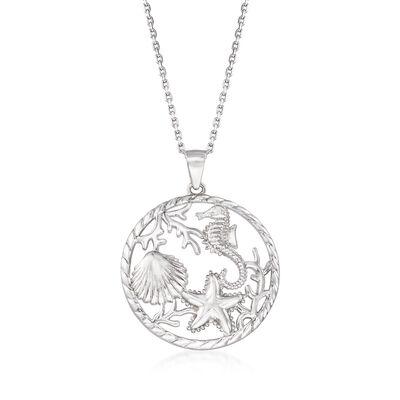 Sterling Silver Sea Life Pendant Necklace, , default