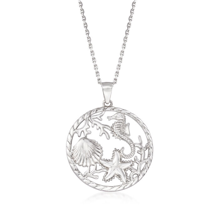 "Sterling Silver Sea Life Pendant Necklace. 18"", , default"