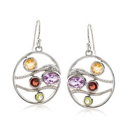 3.40 ct. t.w. Multi-Stone Circle Drop Earrings in Sterling Silver , , default
