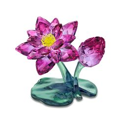 Swarovski Crystal Purple and Green Lotus Flower Figurine, , default