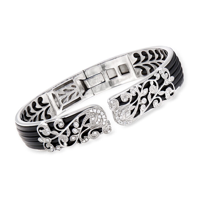 """Belle Etoile """"Andante"""" Black Rubber and .42 ct. t.w. CZ Bangle Bracelet in Sterling Silver. 7"""""""