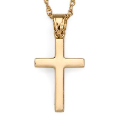 14kt Yellow Gold Polished Cross Pendant Necklace, , default