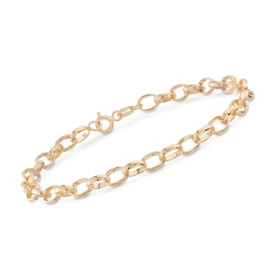 Italian 4.5mm 14kt Yellow Gold Cable-Link Bracelet, , default