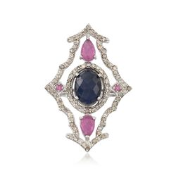 3.60 Carat Sapphire and 1.03 ct. t.w. Ruby Ring With Diamond in Sterling Silver, , default