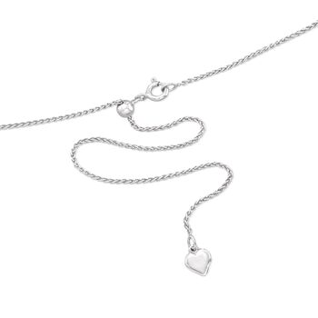 """Italian 1mm Sterling Silver Adjustable Slider Wheat Chain Necklace. 24"""", , default"""