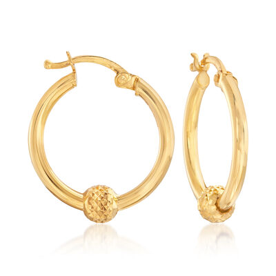22kt Yellow Gold Hoop Earrings with Diamond-Cut Bead, , default
